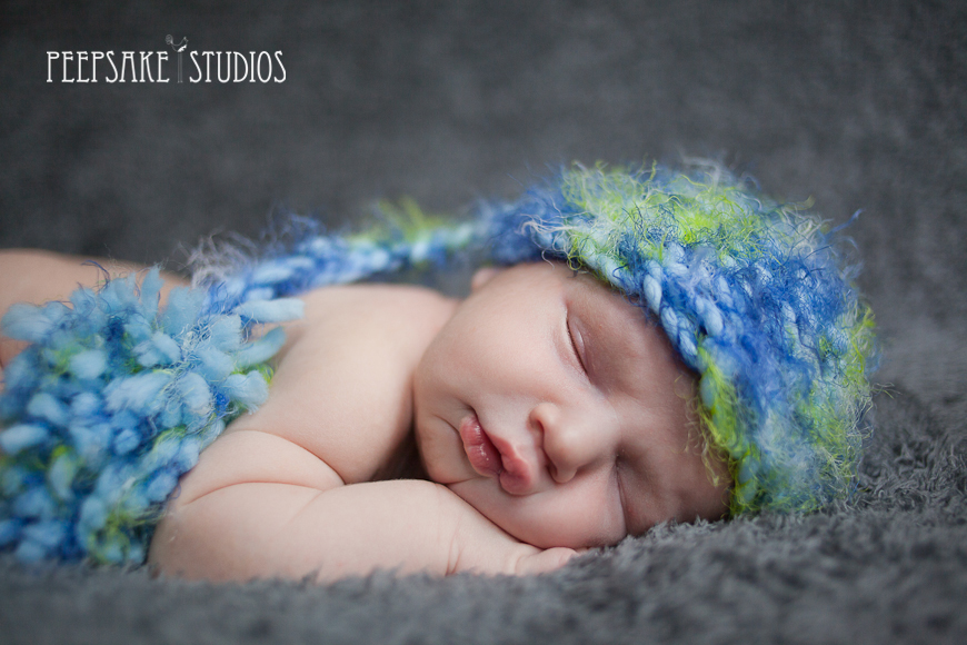Blue and Green Newborn Baby Boy Hat